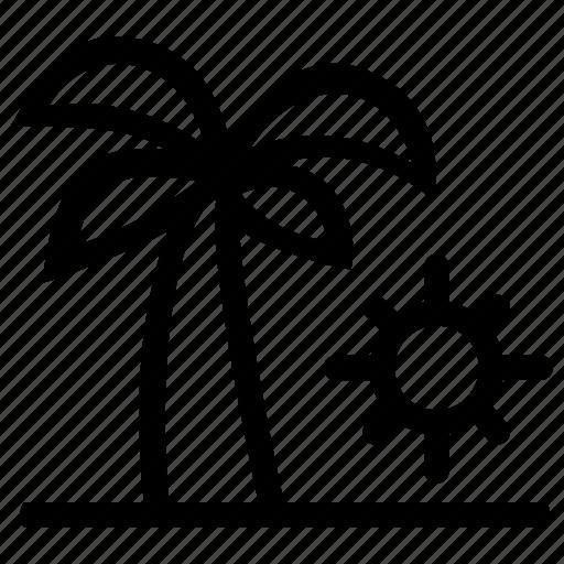 beach, light, silhouette, sun, vacation icon