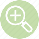 add, magnifier, plus, search, view, zoom icon