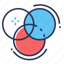 circles, colors, correction, flare icon
