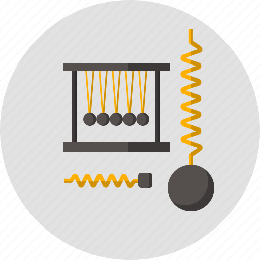 dynamometer, impulse, pendulum, physics, plummet, science, spring icon
