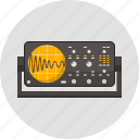 appliance, laboratory, oscilloscope, physics, science, signal, wave icon