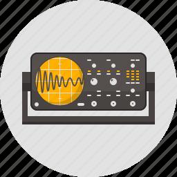 appliance, laboratory, oscilloscope, physics, science, signal, wave icon