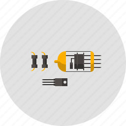 amplifier, lamp, physics, resistor, semiconductor, tranny, transistor icon