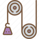 education, physics, pulley, science, weight icon