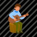 play, man, guitar, rest, music, picnic