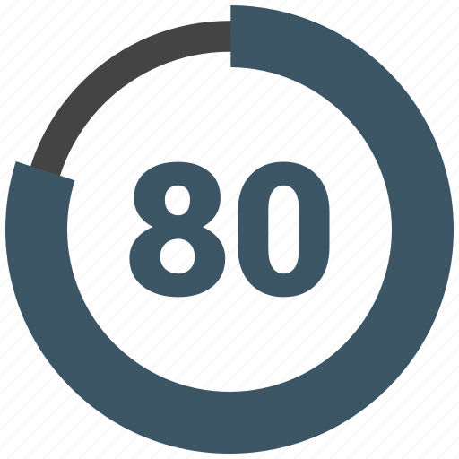 chart, diagram, eighty, graph, number, pie chart, pie graph icon