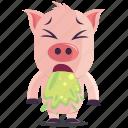 emoji, emoticon, pig, sick, smiley, sticker