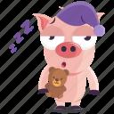 emoji, emoticon, pig, sleep, smiley, sticker, tired icon