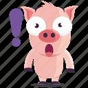 emoji, emoticon, exclaimation, pig, smiley, sticker, surprise icon