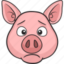 animal, cartoon, cute, emoji, pig icon