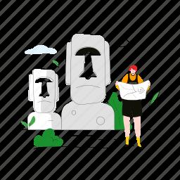easter, island, moai, statue, landmark