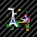 eiffel, tower, tourist, restaurant, paris