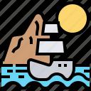 ship, scenery, island, sea, caribbean icon