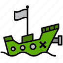 boat, grub, pirate, pirate ship, raider, rover, ship icon