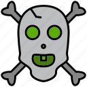 cranium, cross bones, grub, pirate, raider, rover, skull icon