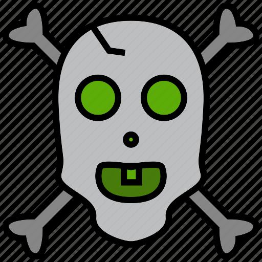 cranium, cross bones, grub, pirate, raider, rover, skull icon
