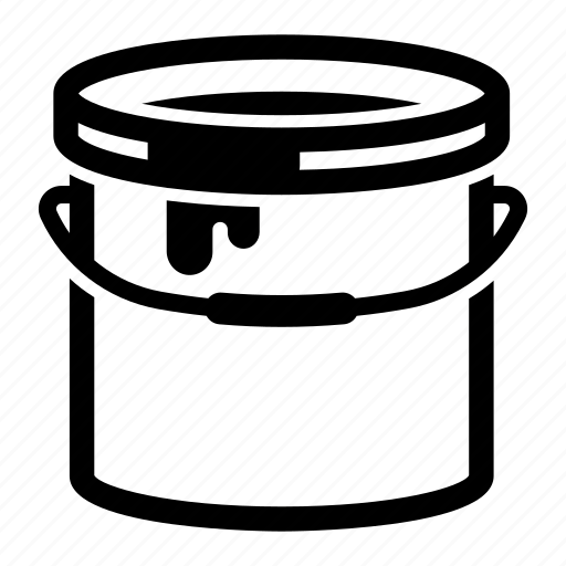 bricolage, bucket, paint, painter, painting, spill icon
