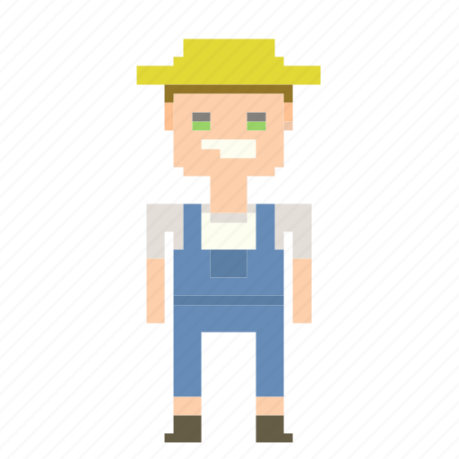 avatar, farmer, man, peasant, person, pixels icon