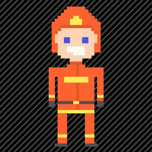 avatar, fireman, man, person, pixels icon