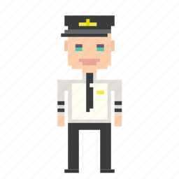 airplane, man, person, pilot, pixels icon