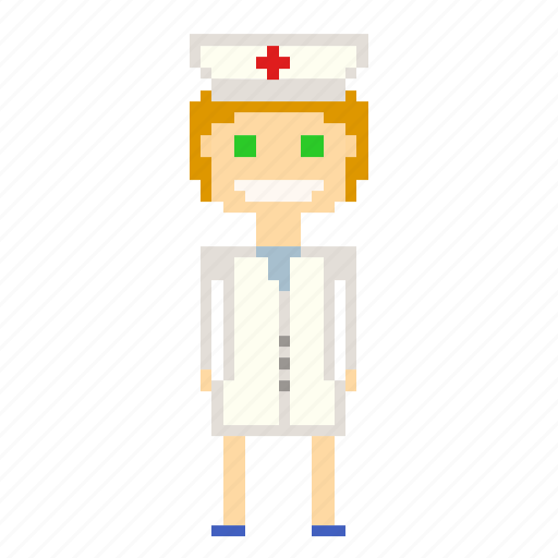 avatar, girl, nurse, person, pixels, woman icon