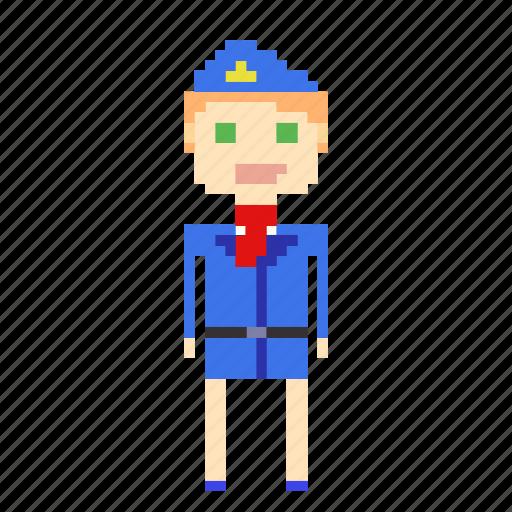 female, girl, person, pixels, stewardess, woman icon