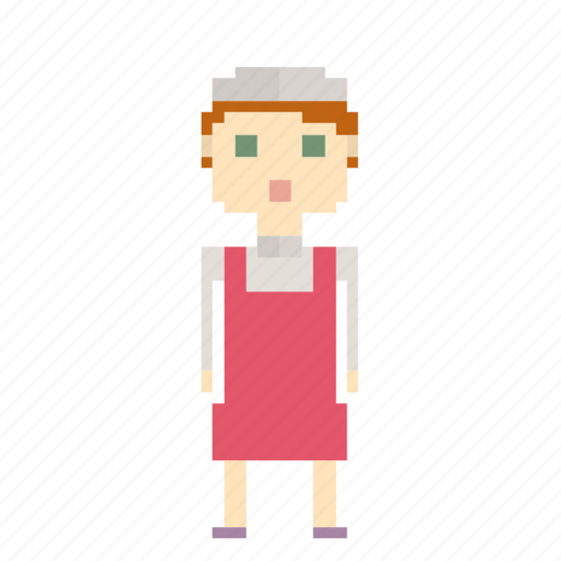 avatar, girl, person, pixels, saleswoman, woman icon