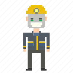 avatar, man, miner, person, pixels icon
