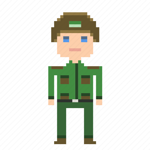 green, male, man, person, pixels, soldier icon