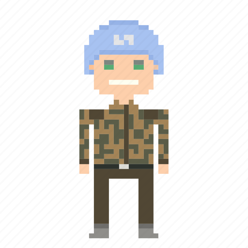 blue helmet, male, man, person, pixels, soldier icon