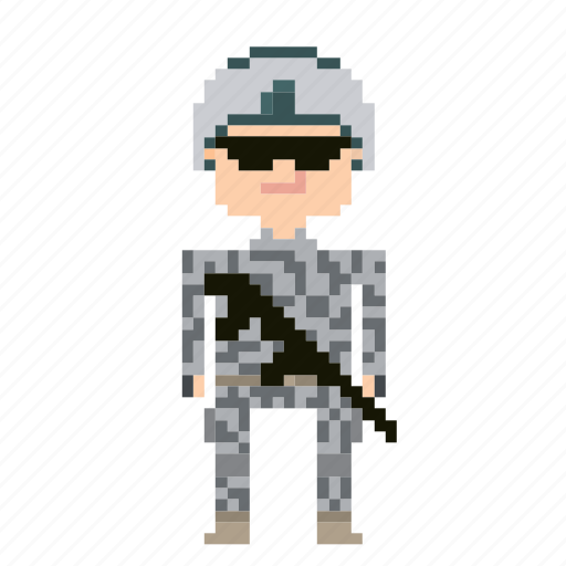 male, man, person, pixels, soldier icon