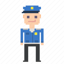 avatar, cop, man, person, pixels, policeman icon