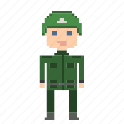 avatar, male, man, person, pixels, soldier icon