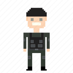 avatar, man, person, pixels, thief icon