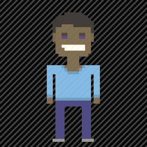 art_pixels, avatar, black, man, person, pixels icon