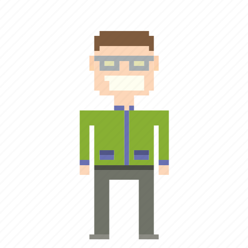 avatar, glasses, man, person, pixels icon