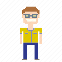 glasses, male, man, person, pixels icon