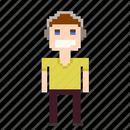 boy, headphones, male, man, person, pixels icon