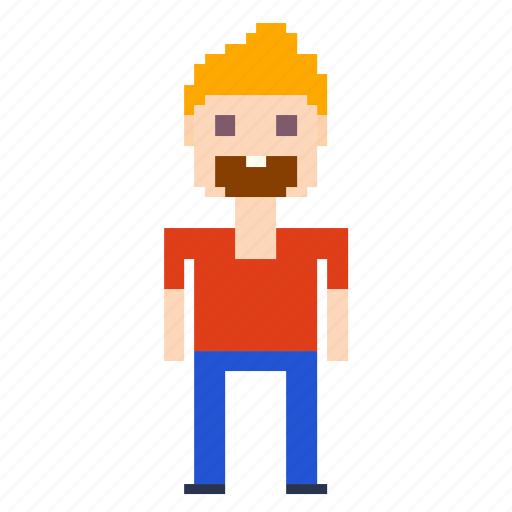 beard, male, man, person, pixels icon