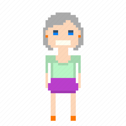 avatar, female, girl, person, pixels, woman icon