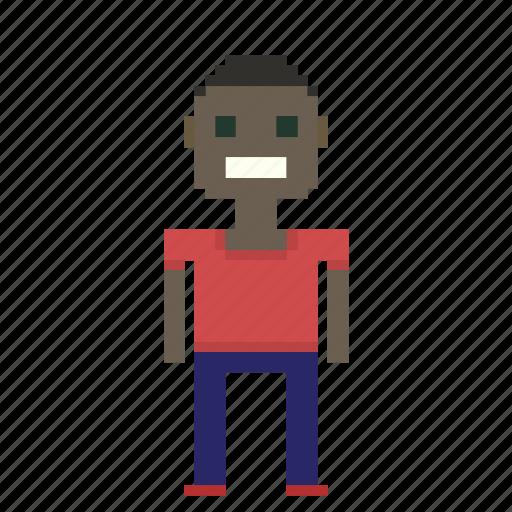 avatar, black, male, man, person, pixels icon