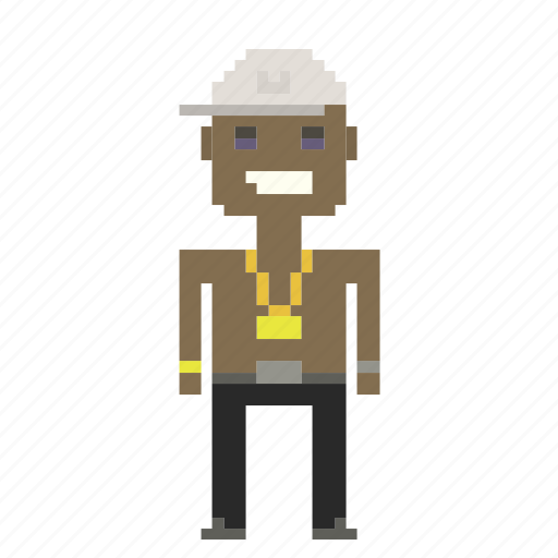 boy, hip-hop, man, person, pixels, rapper icon