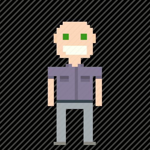 bald, bald man, male, man, person, pixels icon