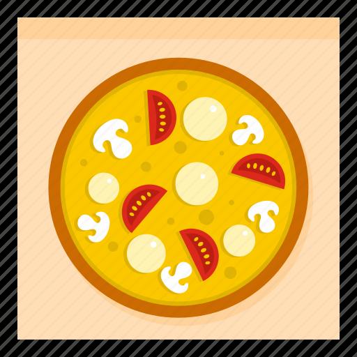 cheese, food, italian, mushroom, pizza, tomato, vegetable icon