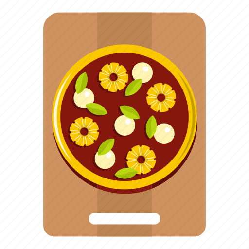 basil, board, olive, pineapple, pizza, sause, wooden icon