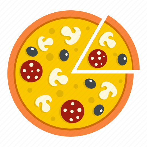 cheese, food, mushroom, olive, pizza, salami, vegetable icon