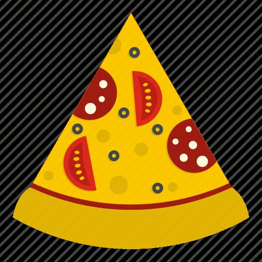 cheese, food, pizza, salami, sausage, slice, tomato icon