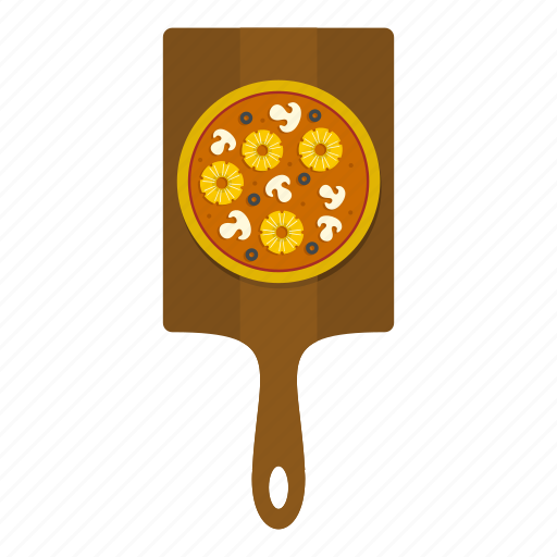 board, food, mushrooms, olive, pineapple, pizza, wooden icon