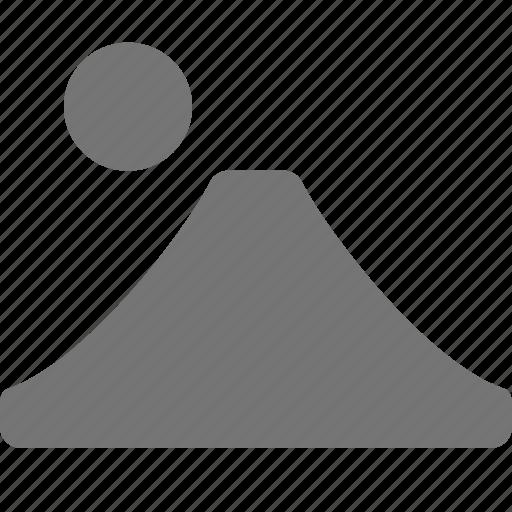 mountain, sun, volcano icon