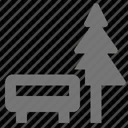 bench, park, tree icon
